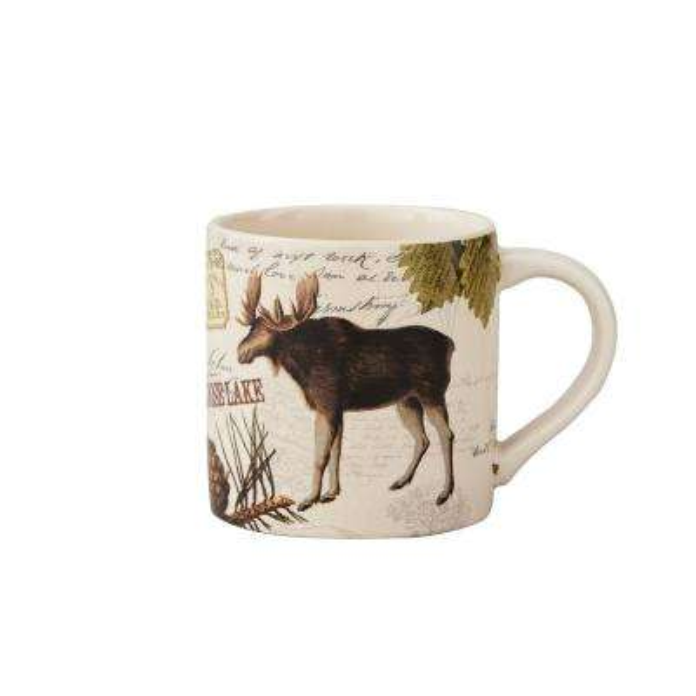 Wildlife Trail 20 oz. Tan Ceramic Moose Coffee Mug (Set of 4)