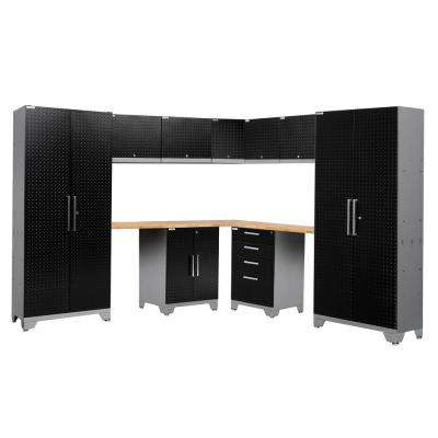 Performance Diamond Plate 2.0 72 in. H x 177 in. W x 18 in. D Garage Cabinet Set in Black (12-Piece)