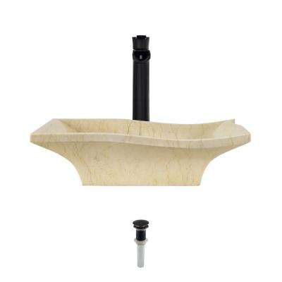 Stone Vessel Sink in Egyptian Yellow Marble with 731 Faucet and Pop-Up Drain in Antique Bronze