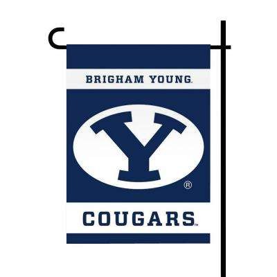 NCAA 13 in. x 18 in. Brigham Young 2-Sided Garden Flag Set with 4 ft. Metal Flag Stand