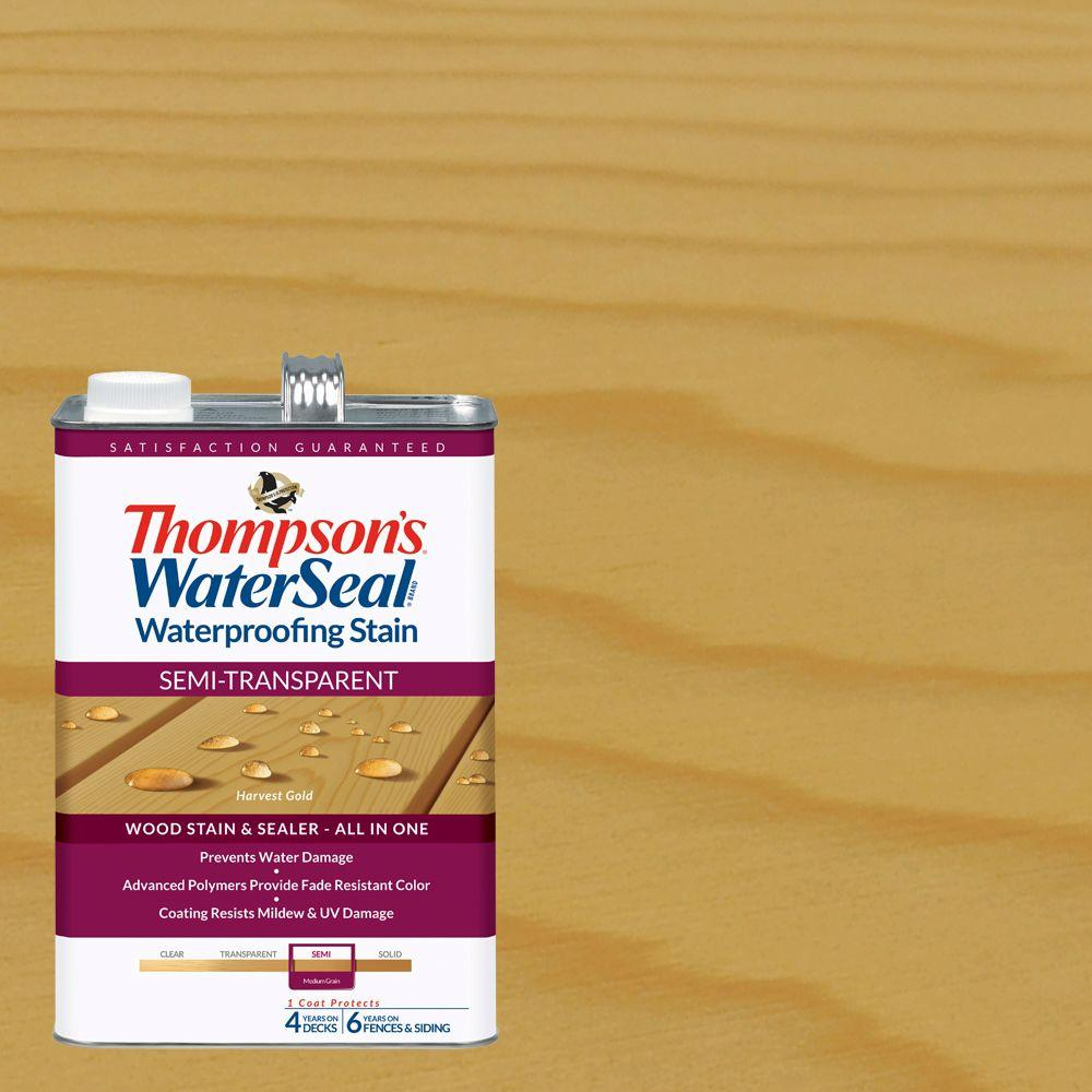 Thompson's WaterSeal 1 gal. Semi-Transparent Harvest Gold Waterproofing Stain Exterior Wood