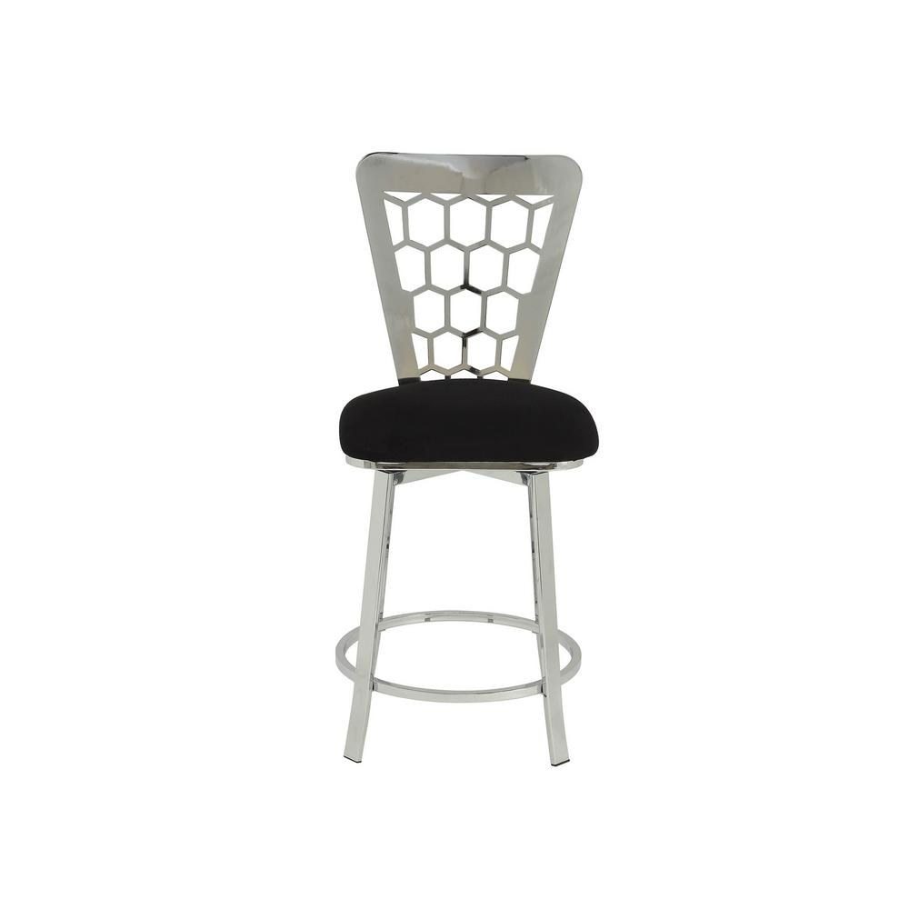 Felice Black Microfiber and Chrome Counter Height Chair (Set of 2)