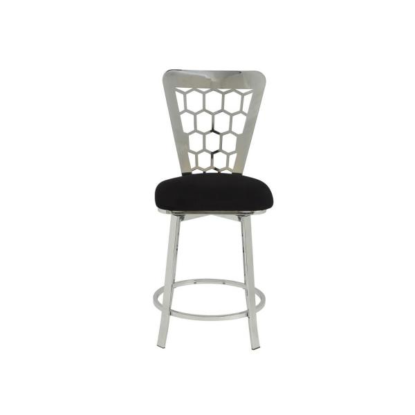 Acme Furniture Felice Black Microfiber and Chrome Counter Height Chair (Set