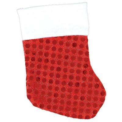 5.5 in. x 3.5 in. Sequin Red Christmas Stockings (6-Count, 4-Pack)