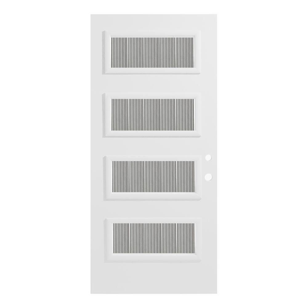 Stanley Doors 32 in. x 80 in. Lorraine Flutelite 4 Lite Painted White Left-Hand Inswing Steel Prehung Front Door