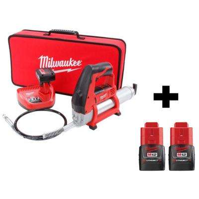 12 12-Volt Lithium-Ion Cordless Grease Gun Kit With Two Free M12 1.5 Ah Batteries