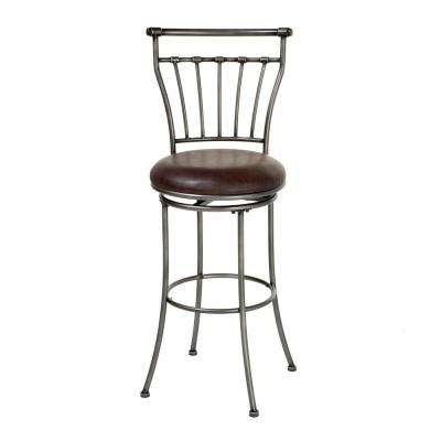 26 in. Topeka Metal Counter Stool with Coffee Upholstered Swivel-Seat and Striated Silver Frame