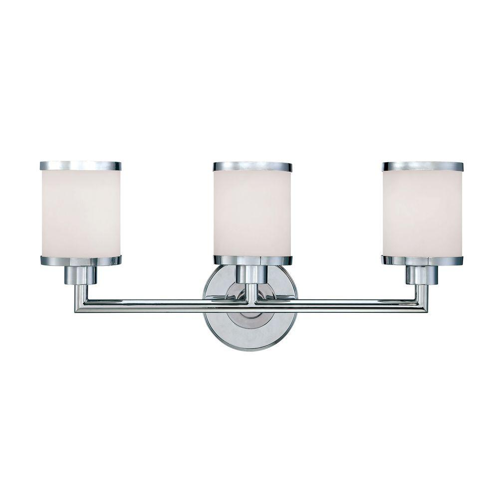 Millennium Lighting 3 Light Chrome Vanity Light With Etched White Glass 223 Ch The Home Depot