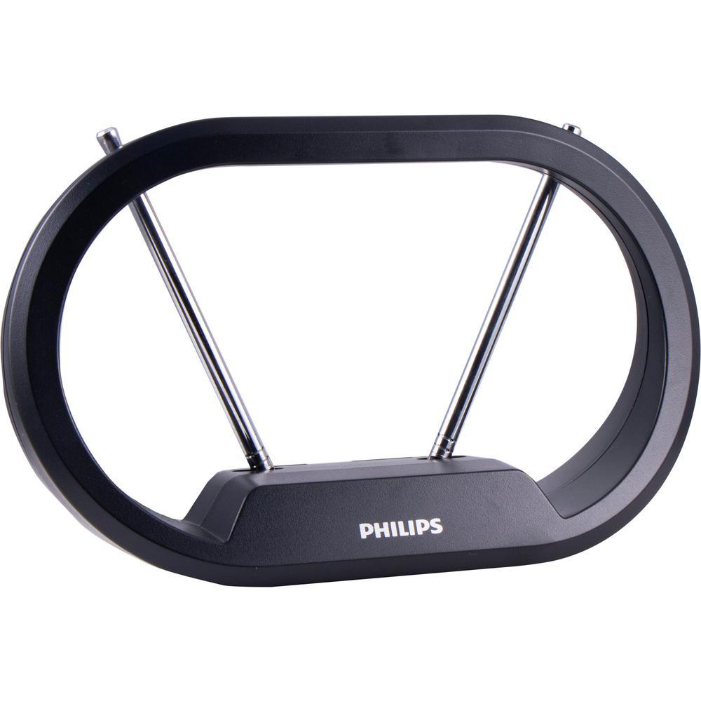 Philips 30-Mile HD Loop Indoor Passive TV Antenna, Black