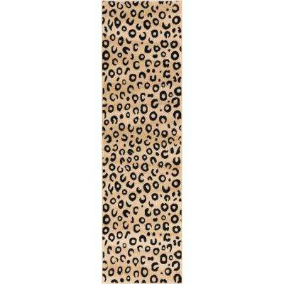 Dulcet Leopard Black 2 ft. x 7 ft.  Modern Animal Print Runner Rug