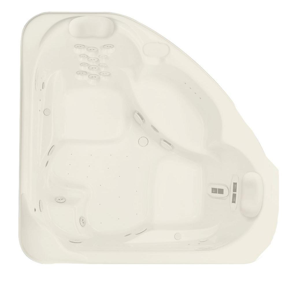 Aquatic Millennium 8 - 72 in. Acrylic Center Drain Corner Drop-In Air Bath/ Whirlpool Bathtub with Heater in Biscuit