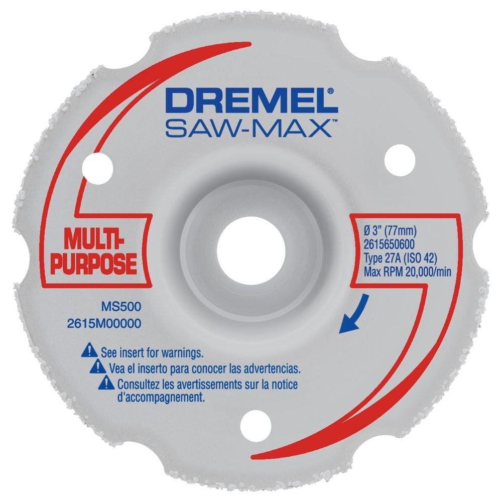 Dremel Saw-Max 3 in. Carbide Multi-Purpose Flush Cut Wheel for Wood, Plywood, Composites, Drywall, PVC, and Plastic