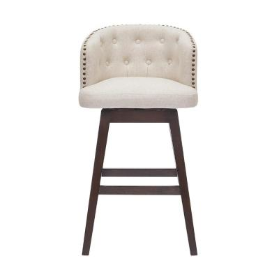 Bardell Swivel Upholstered Bar Stool with Biscuit Beige Seat and Barrel Back  (20 in. W x 38.5 in. H)