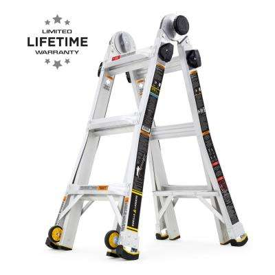 14 ft. Reach MPX Aluminum Multi-Position Ladder with Wheels, 375 lbs. Load Capacity Type IAA Duty Rating