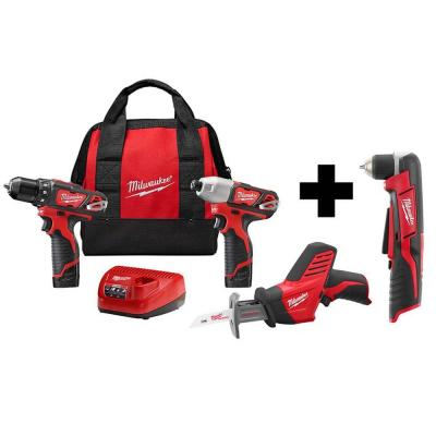 M12 12-Volt Lithium-Ion Cordless Combo Tool Kit (3-Tool) with M12 Right Angle Drill