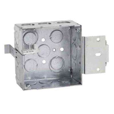 4 in. 30.3 cu. in. Pre-Galvanized Steel Square Box with MS Bracket (Case of 25)