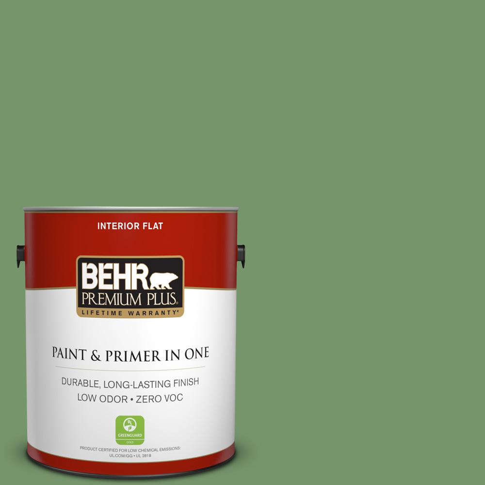 1 gal. #PPU11-03 Botanical Green Zero VOC Flat Interior Paint