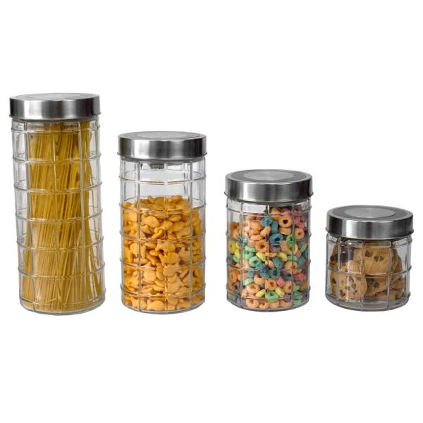 4-Piece Clear Glass Canister Set with Stainless Steel Lids