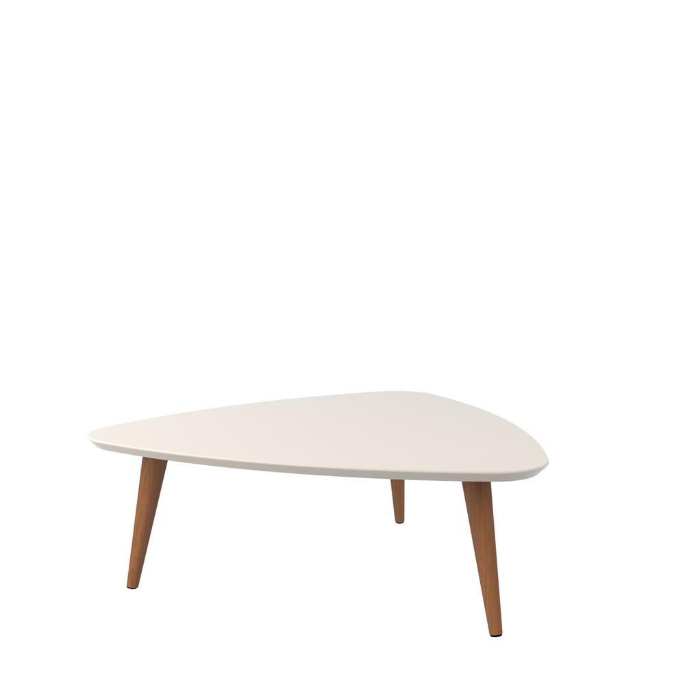 Manhattan Comfort Utopia 11.81 In. H Off White And Maple Cream Triangle Coffee  Table