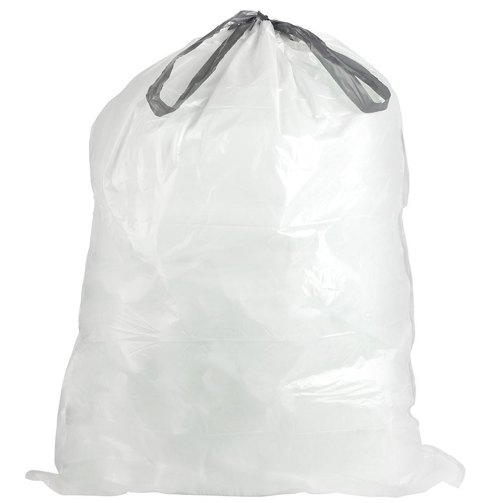 24 in. W x 27 in. H 13 Gal. 0.9 mil White Flat Seal Low Density Drawstring Bags (200-Case)