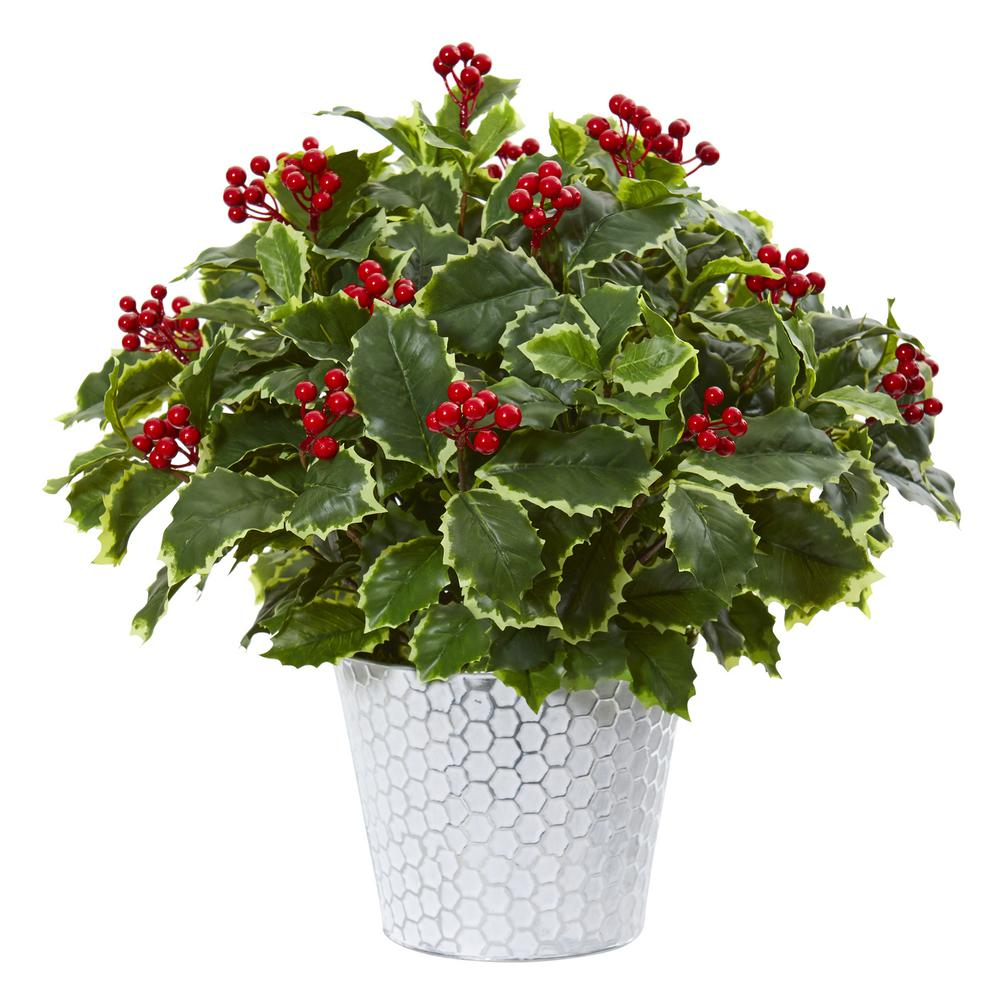 Nearly Natural 17 In Variegated Holly Leaf Artificial Plant In