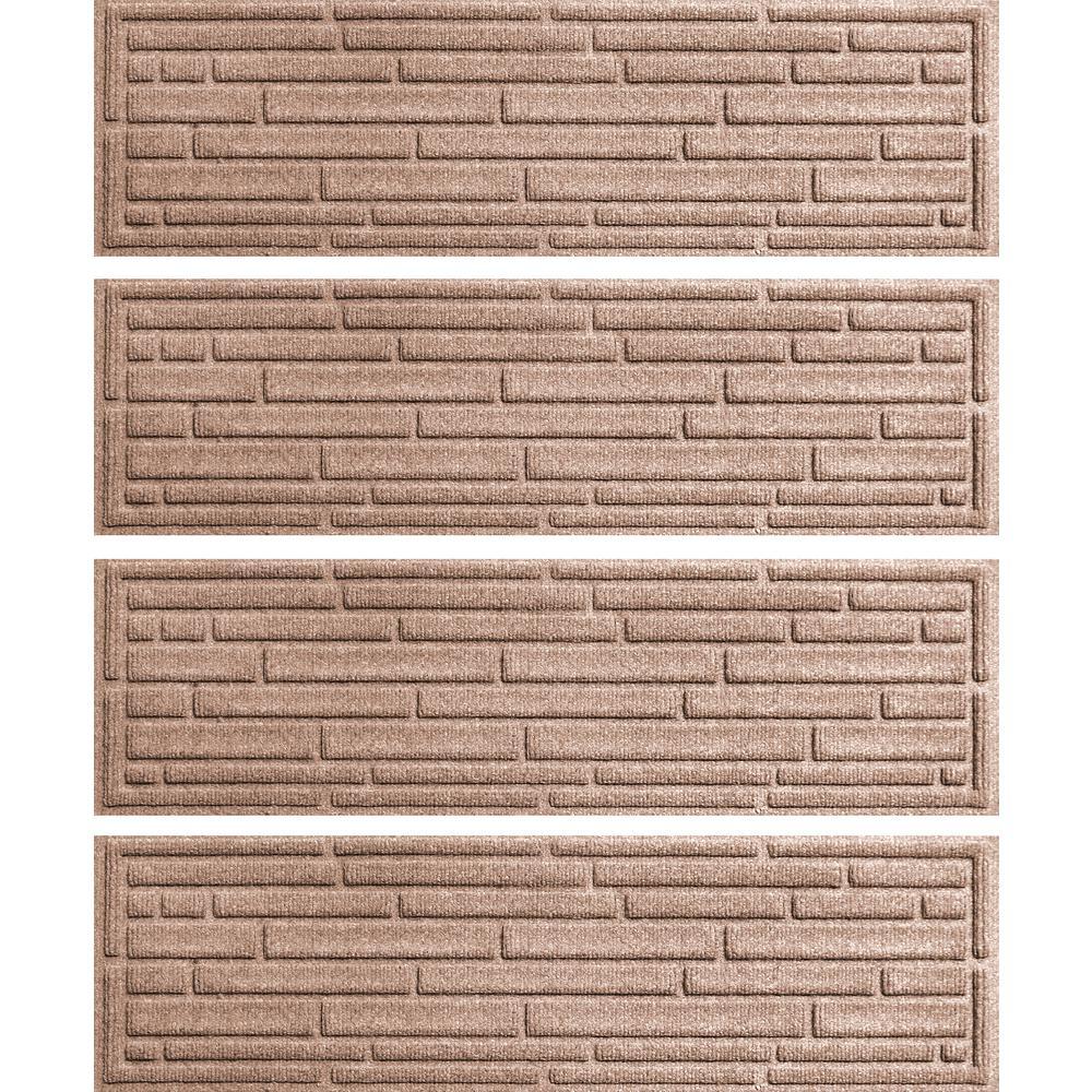 Medium Brown 8.5 in. x 30 in. Broken Brick Stair Tread Cover (Set of 4)
