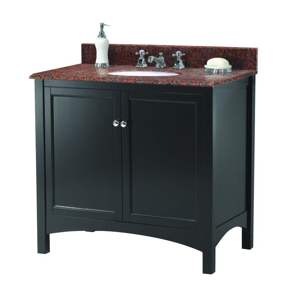 Home Decorators Collection Haven 37 in. W x 22 in. D Vanity in Espresso with Granite Vanity Top in Terra Cotta with White Sink