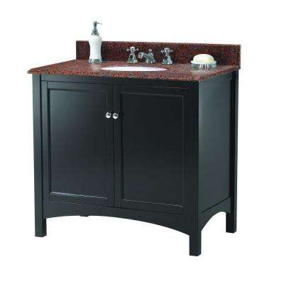 Haven 37 in. W x 22 in. D Vanity in Espresso with Granite Vanity Top in Terra Cotta with White Sink