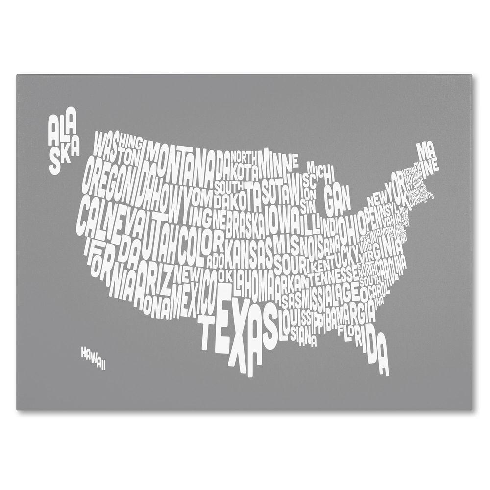 22 in. x 32 in. USA States Text Map - Grey