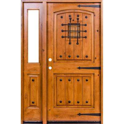56 in. x 80 in. Mediterranean Knotty Alder Arch Unfinished Left-Hand Inswing Prehung Front Door with Left Half Sidelite