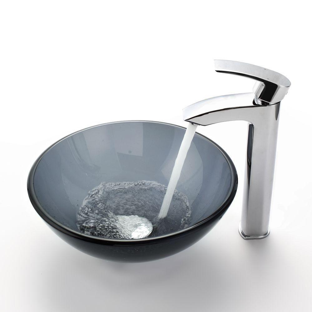 Glass Vessel Sink in Black with Visio Faucet in Chrome