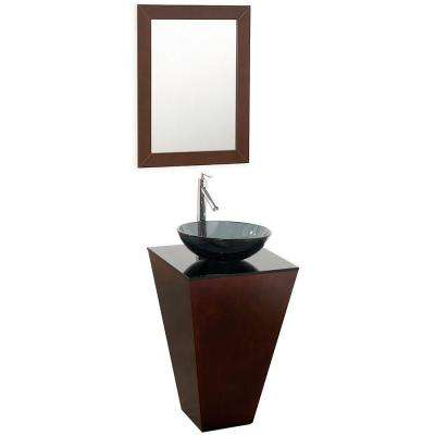 Esprit 20 in. Vanity in Espresso with Glass Vanity Top in Black with Smoke Basin and Mirror