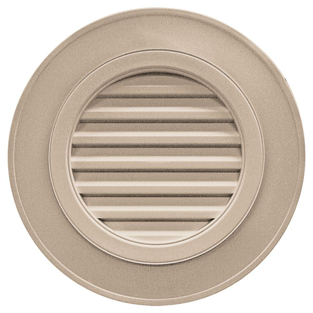 Builders Edge 28 in. Round Gable Vent in Wicker (without Keystones)