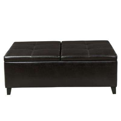 Lanister Brown PU Leather Medium Storage Bench