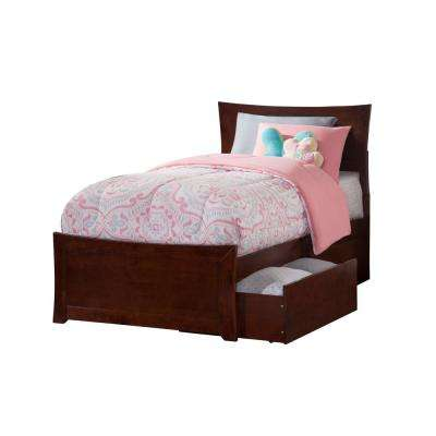 Metro Walnut Twin XL Platform Bed with Matching Foot Board with 2-Urban Bed Drawers