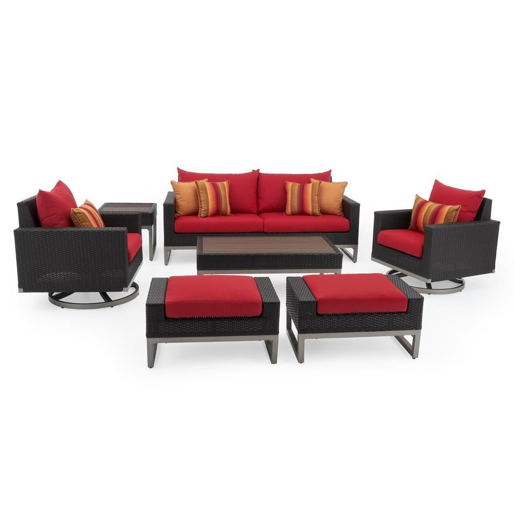 RST Brands Milo Espresso 7-Piece Wicker Motion Patio Deep Seating Conversation Set with Sunbrella Sunset Red Cushions