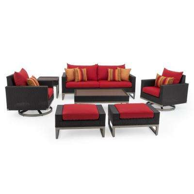 Milo Espresso 7-Piece Wicker Motion Patio Deep Seating Conversation Set with Sunbrella Sunset Red Cushions