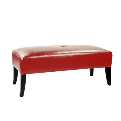 Antonio 46 in. Wide Bench in Red Bonded Leather