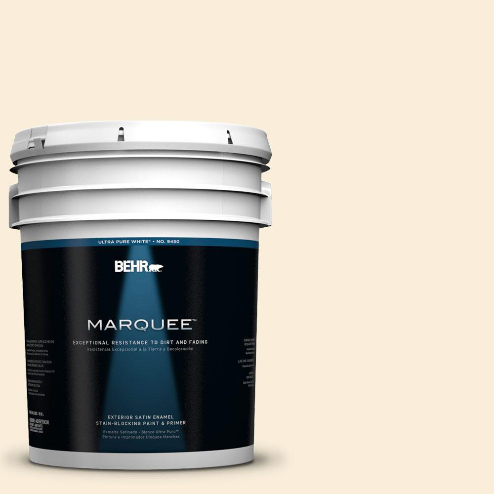 BEHR MARQUEE 5-gal. #380E-1 Mist Yellow Satin Enamel Exterior Paint