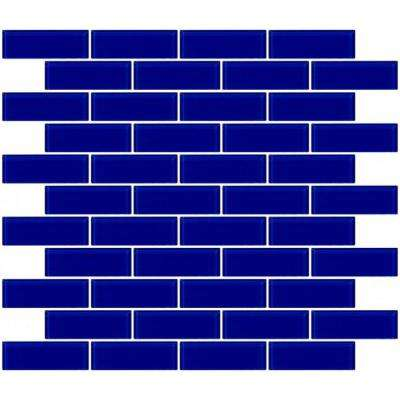 12 in. x 12 in. x 4 mm Tile'ESQUE Cobalt Blue Glass Subway Mesh-Mounted Mosaic Tile