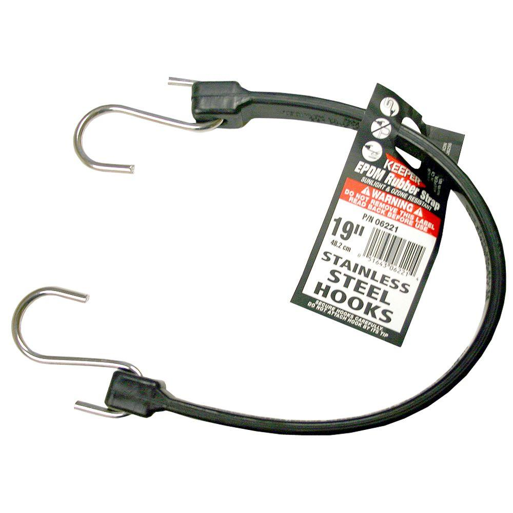 Keeper 19 in. EPDM Rubber Strap with Stainless Steel Hooks