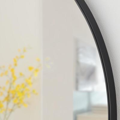 Medium Round Black Classic Accent Mirror (24 in. Diameter)