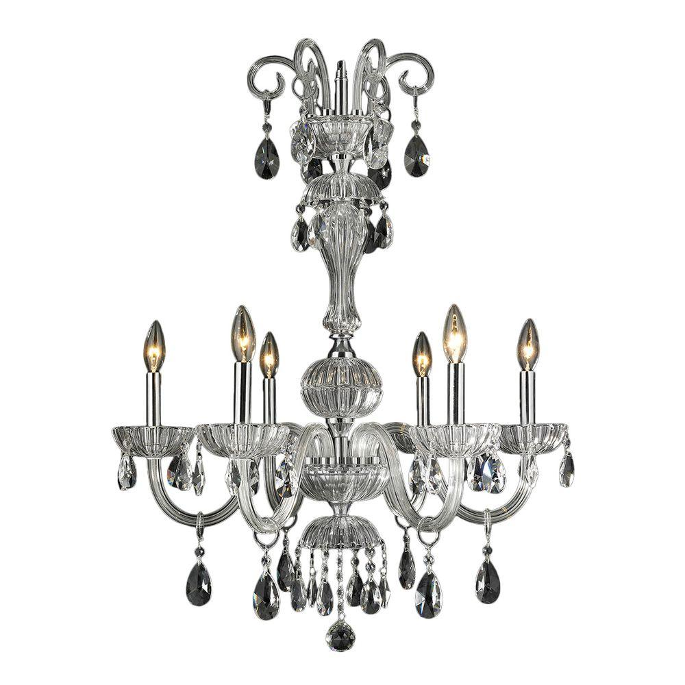 Carnivale Collection 6-Light Chrome and Clear Crystal Chandelier
