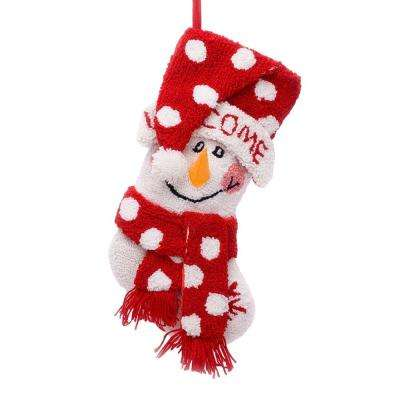 20 in. Polyester/Acrylic Hooked Christmas Stocking with 3D Snowman