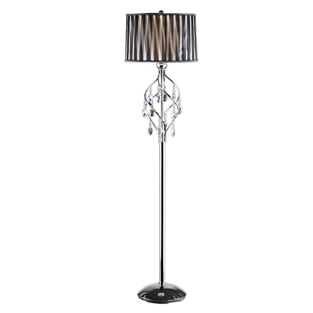 OK LIGHTING 62.5 in. Silver Lady Crystal Floor Lamp