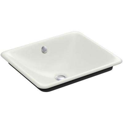 Iron Plains Cast Iron Vessel Sink with Black Iron Painted Underside in Dune with Overflow Drain