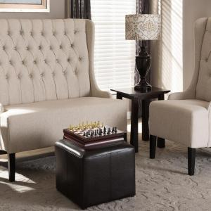 Baxton Studio Aric Dark Brown Accent Ottoman by Baxton Studio