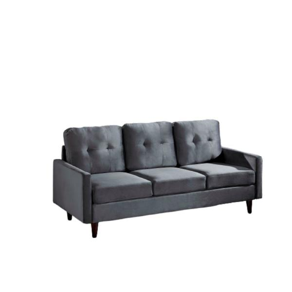 Sofia 71 in. Grey Velvet 3-Seater Lawson Sofa with Removable Cushions