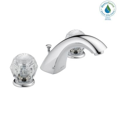 Classic 8 in. Widespread 2-Handle Bathroom Faucet with Metal Drain Assembly in Chrome