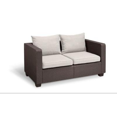 Salta Brown Resin Plastic Outdoor Loveseat with Canvas Cushions